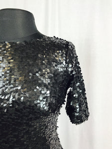 Muted gun metal sequin dress