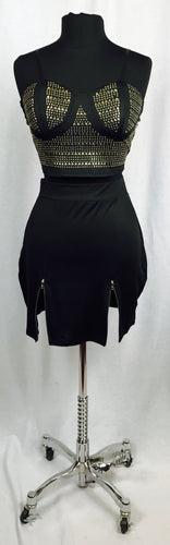 2pc, black with bling features