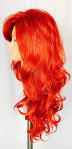 Long, wavy, red, layered, side part