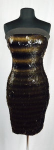 Strapless, brown and mocha sequin, fitted cocktail