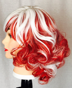 Red and white curl, bangs