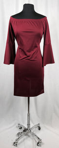 Burgundy, maiden sleeve, off shoulder dress