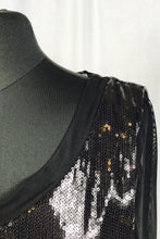 Liquid sequin, sheer long sleeve
