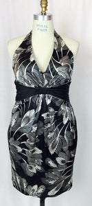 Palm leaf print, b & w, satin dress