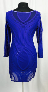Cut-out, shear, long sleeve dress, royal blue