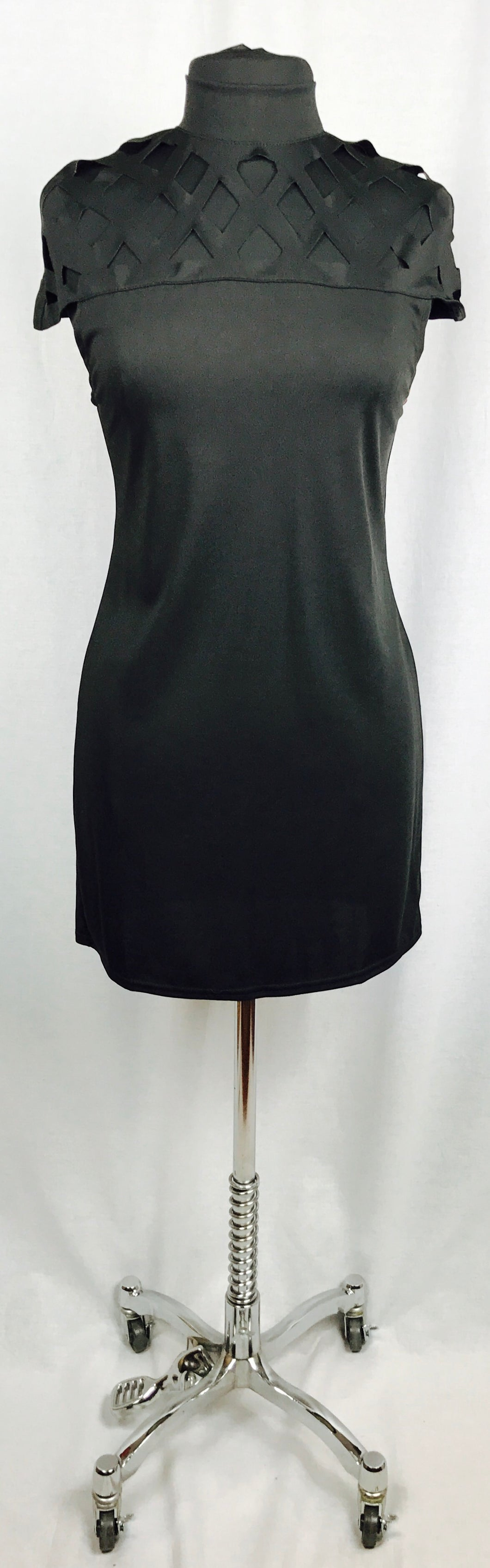 Black, cut-out shoulders, cap sleeves