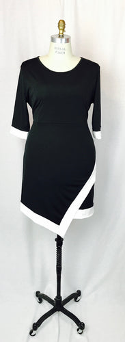Asymmetrical Faux wrap, quarter sleeve dress