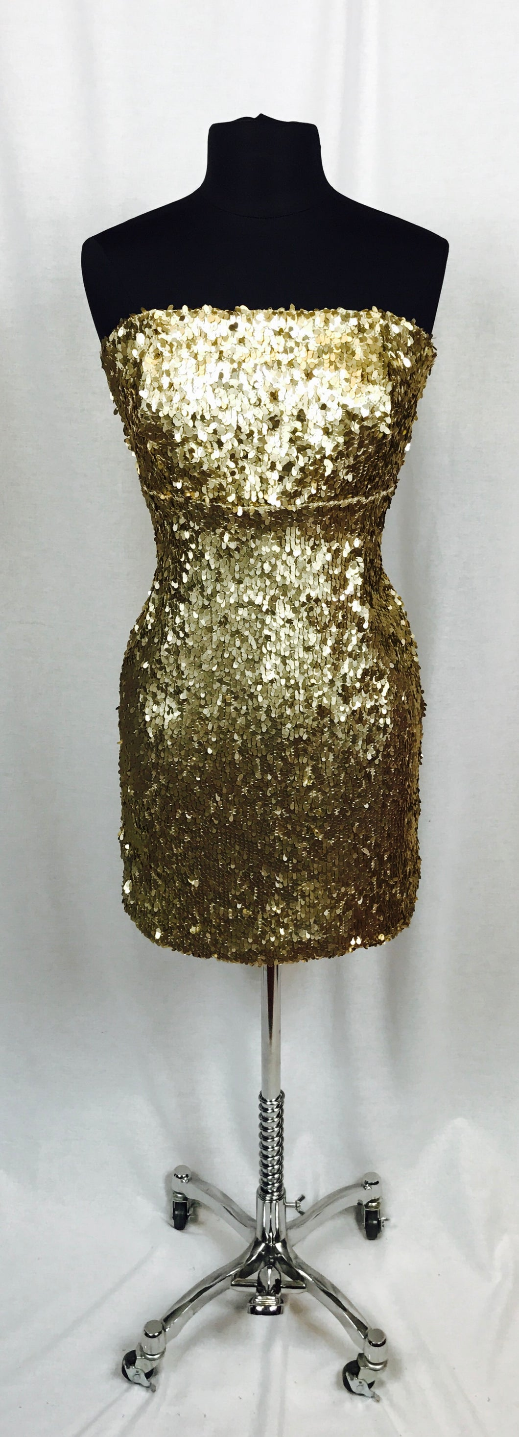 Layered sequin, strapless dress, gold
