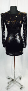 Full sequin, black with reverse gold, long sleeve