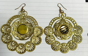 Zebra and gold cut-out earrings