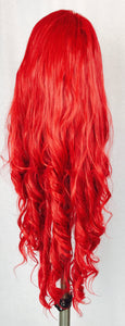 Extra long, loose full curl, side part, Cranberry