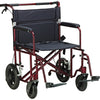 Bariatric Heavy Duty Transport Chair 12 Rear FlatFree Wheels