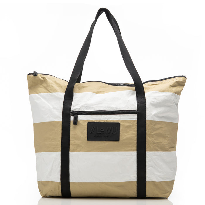 Zipper Tote // Sand 3 Stripe