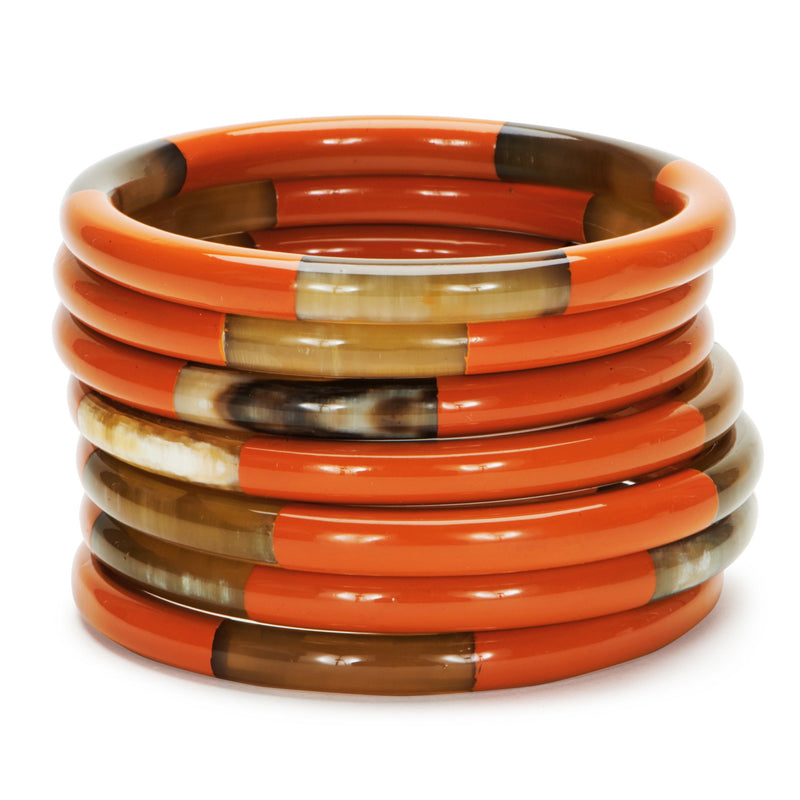 Buffalo Horn Pinwheel Bangles-Poppy - New York Look fashion retail style designer brands like Uma