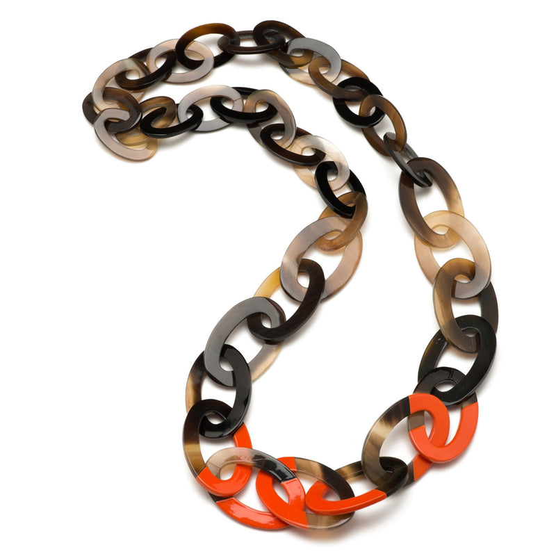 Buffalo Horn Link Necklace - Graduated Shades & Lacquer Accent - New York Look fashion retail style designer brands like Uma