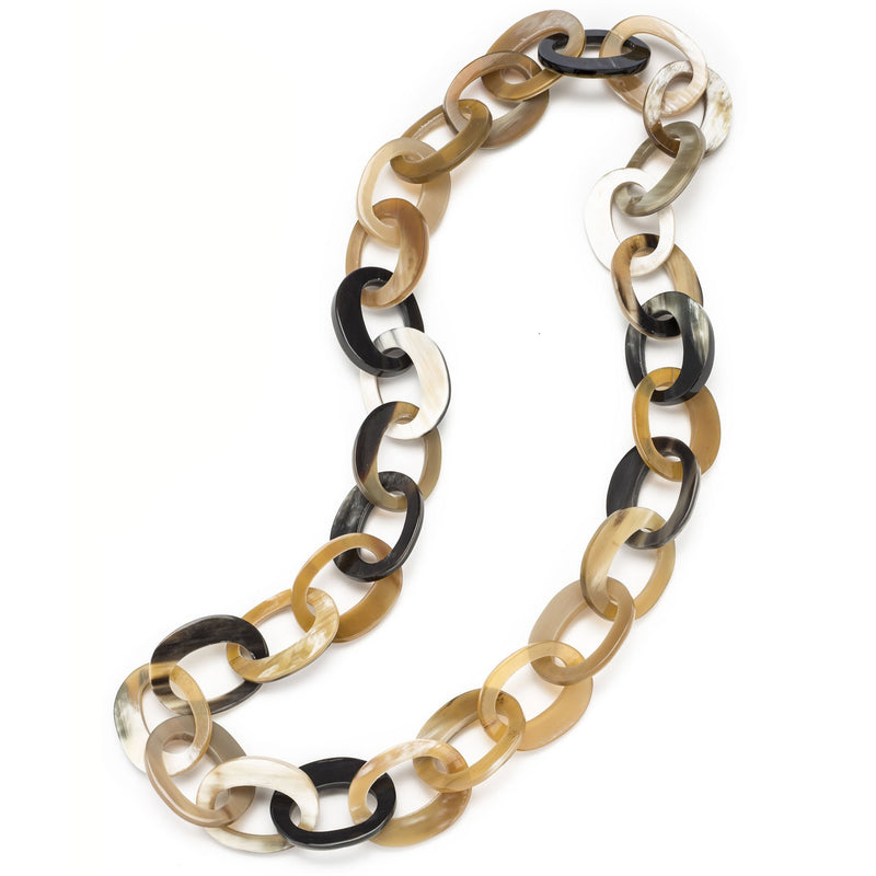 Mixed Light Buffalo Horn Oval Links - New York Look fashion retail style designer brands like Uma