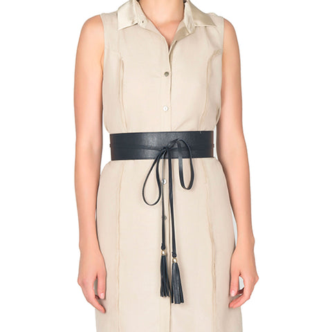 Cleo Reversible Leather Obi Belt - New York Look