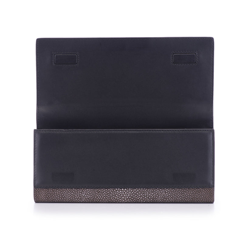 CLEO, shagreen clutch-Coffee - New York Look fashion retail style designer brands like Uma