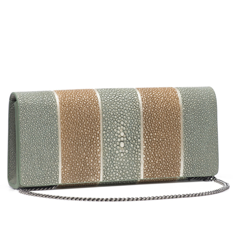 Cleo- Genuine shagreen clutch bag-Putty stripe - New York Look