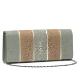 Cleo- Genuine shagreen clutch bag-Putty stripe - New York Look fashion retail style designer brands like Uma