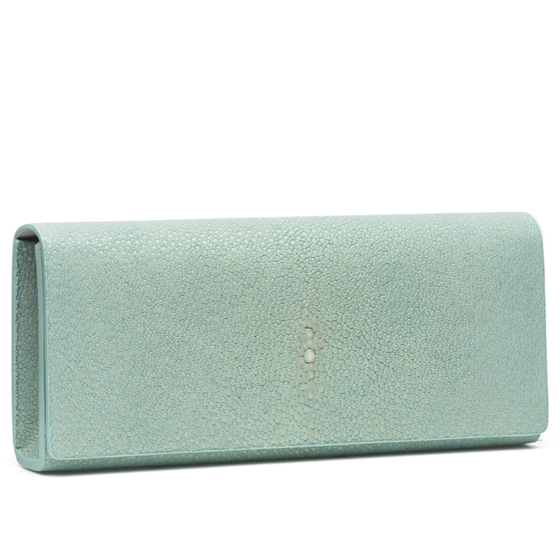 Cleo- Genuine shagreen clutch bag-Sky - New York Look fashion retail style designer brands like Uma