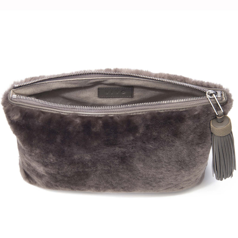 Shearling Zip Top Pouch With Tassel-JEN - New York Look fashion retail style designer brands like Uma