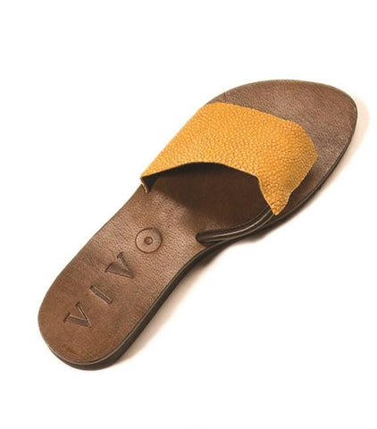 Ginger Shagreen Sandal - Ochre - New York Look fashion retail style designer brands like Uma