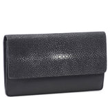 Maya- Shagreen and Napa leather zip back wallet or clutch-Black - New York Look fashion retail style designer brands like Uma