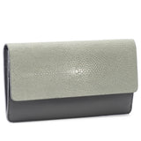 Maya- Shagreen and Napa leather zip back wallet or clutch-Cement - New York Look fashion retail style designer brands like Uma