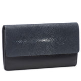 Maya- Shagreen and Napa leather zip back wallet or clutch-Navy - New York Look fashion retail style designer brands like Uma