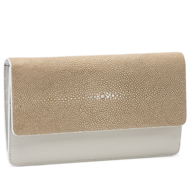 Maya- Shagreen and Napa leather zip back wallet or clutch-Putty - New York Look fashion retail style designer brands like Uma
