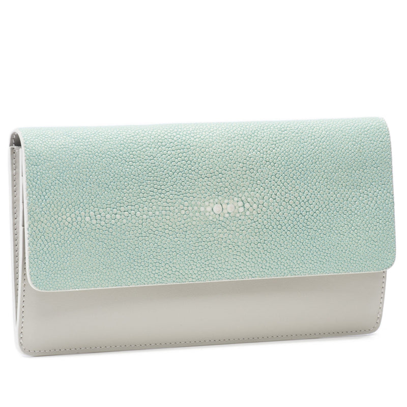 Maya- Shagreen and Napa leather zip back wallet or clutch-Sky - New York Look fashion retail style designer brands like Uma
