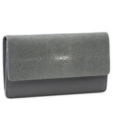 Maya- Shagreen and Napa leather zip back wallet or clutch-Gray - New York Look fashion retail style designer brands like Uma