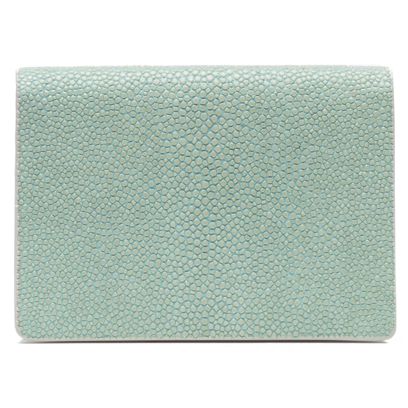 Taylor-Shagreen and Napa leather card case-Sky - New York Look