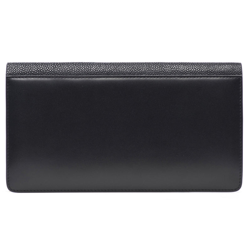 Bea II-Shagreen and Napa leather wallet or clutch-Black - New York Look fashion retail style designer brands like Uma