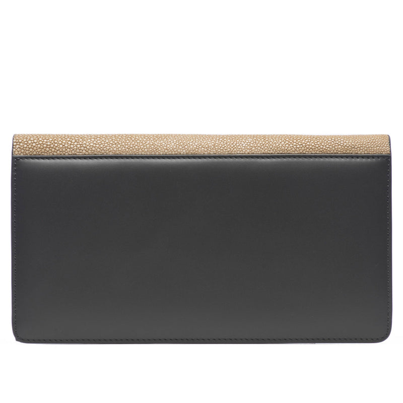 Bea II-Shagreen and Napa leather wallet or clutch-Putty - New York Look fashion retail style designer brands like Uma