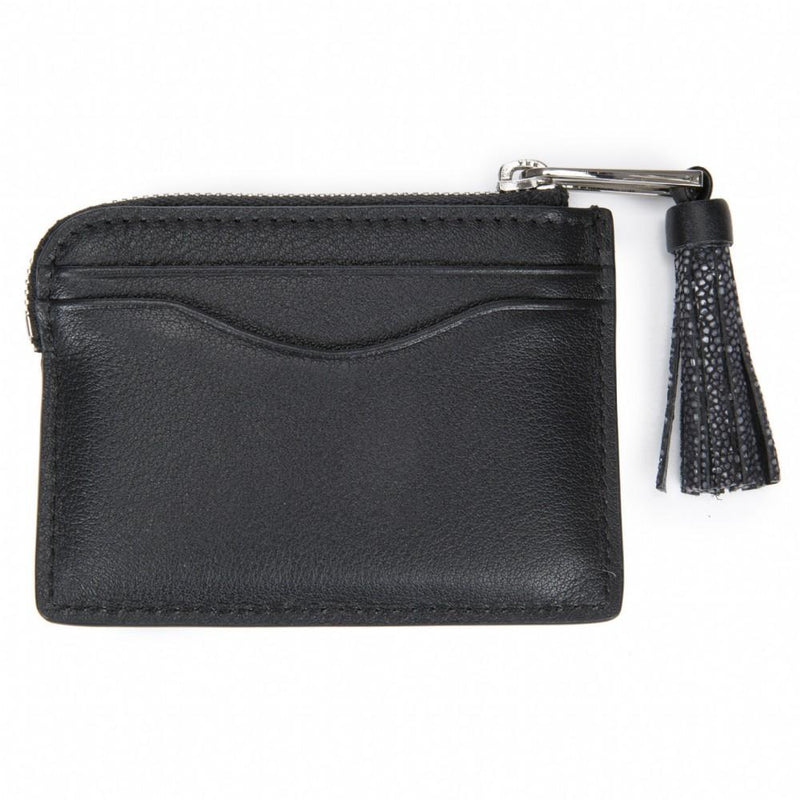 Leather Card Pouch with Tassel-AVERY - New York Look fashion retail style designer brands like Uma