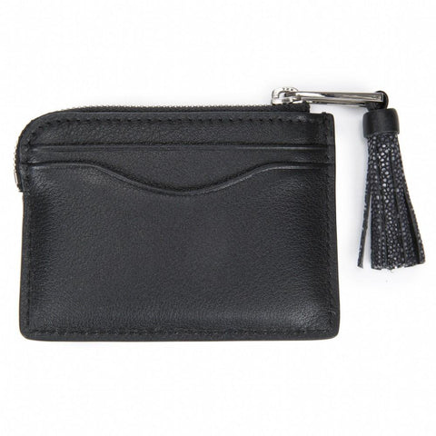Leather Card Pouch with Tassel-AVERY - New York Look