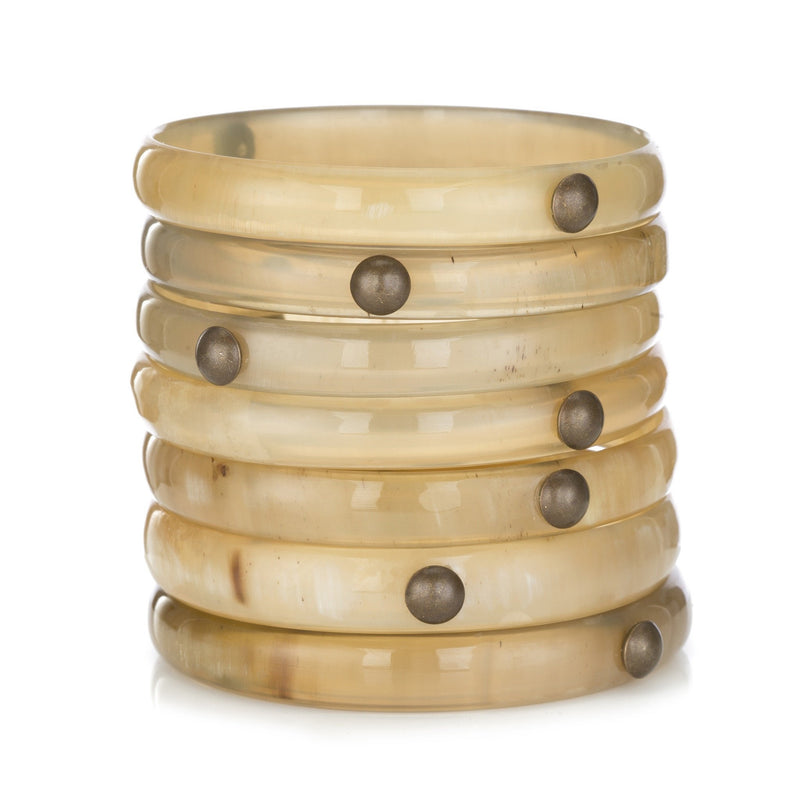 Set of 7 Buffalo Horn Light Round Cuffs with Studs - New York Look fashion retail style designer brands like Uma