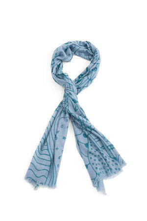 EVIL EYE PROTECTION SCARF TURQUOIS ON BABY BLUE - New York Look