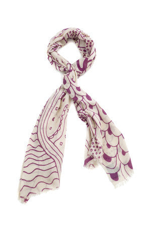 EVIL EYE PROTECTION PRINT SCARF VINO ON CREAM - New York Look