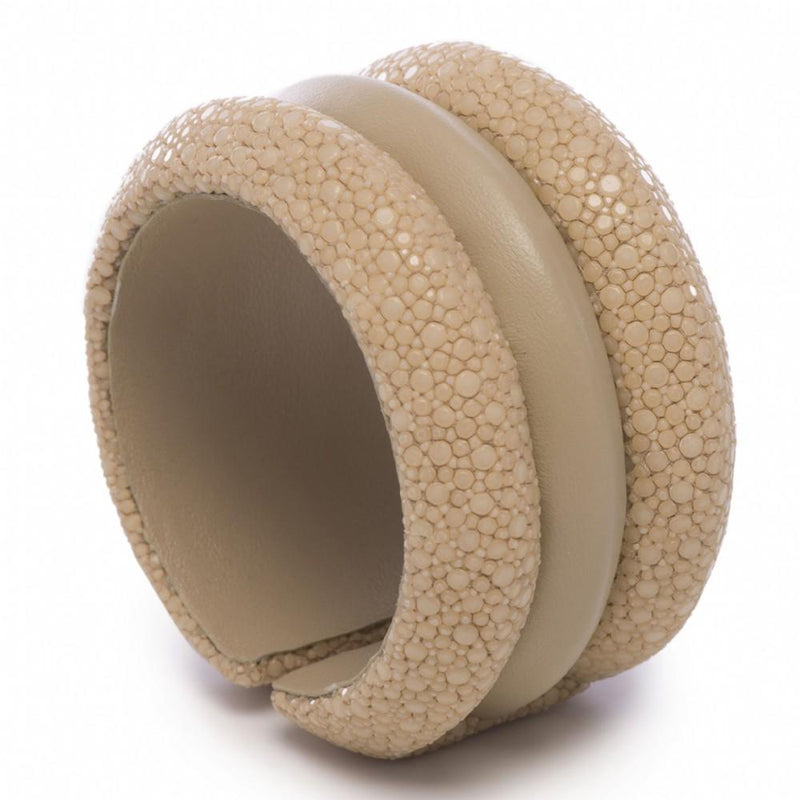 Shagreen And Leather Raised 3 Band Cuff - New York Look