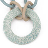 Shagreen and leather link necklace with shagreen circle-Aqua - New York Look