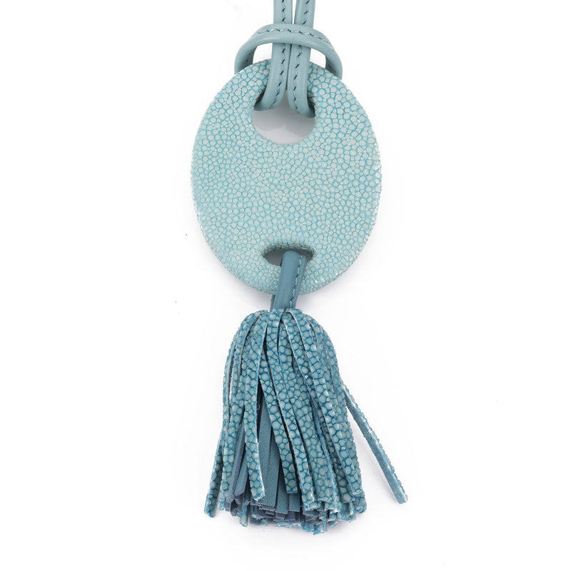 Shagreen and leather tassel pendant, adjustable necklace-Aqua - New York Look