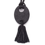 Shagreen and leather tassel pendant, adjustable necklace-Black - New York Look