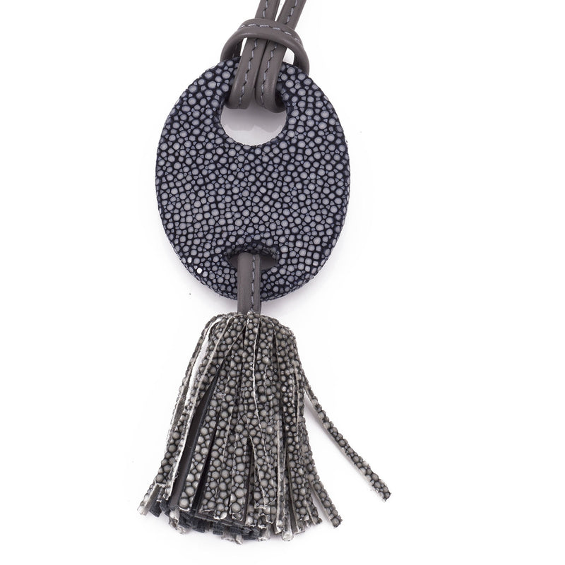Shagreen and leather tassel pendant, adjustable necklace-Ink - New York Look fashion retail style designer brands like Uma