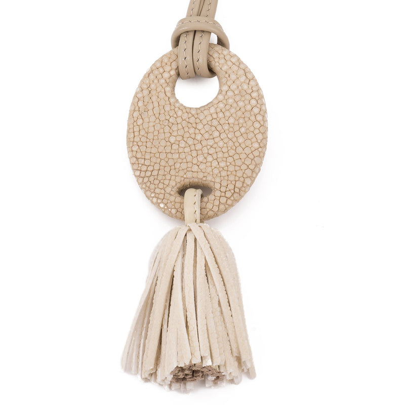 Shagreen and leather tassel pendant, adjustable necklace-Latte - New York Look fashion retail style designer brands like Uma