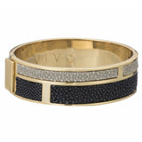 Hinged Bangle With 2 Color Genuine Shagreen Inlay-Black, Cement - New York Look fashion retail style designer brands like Uma