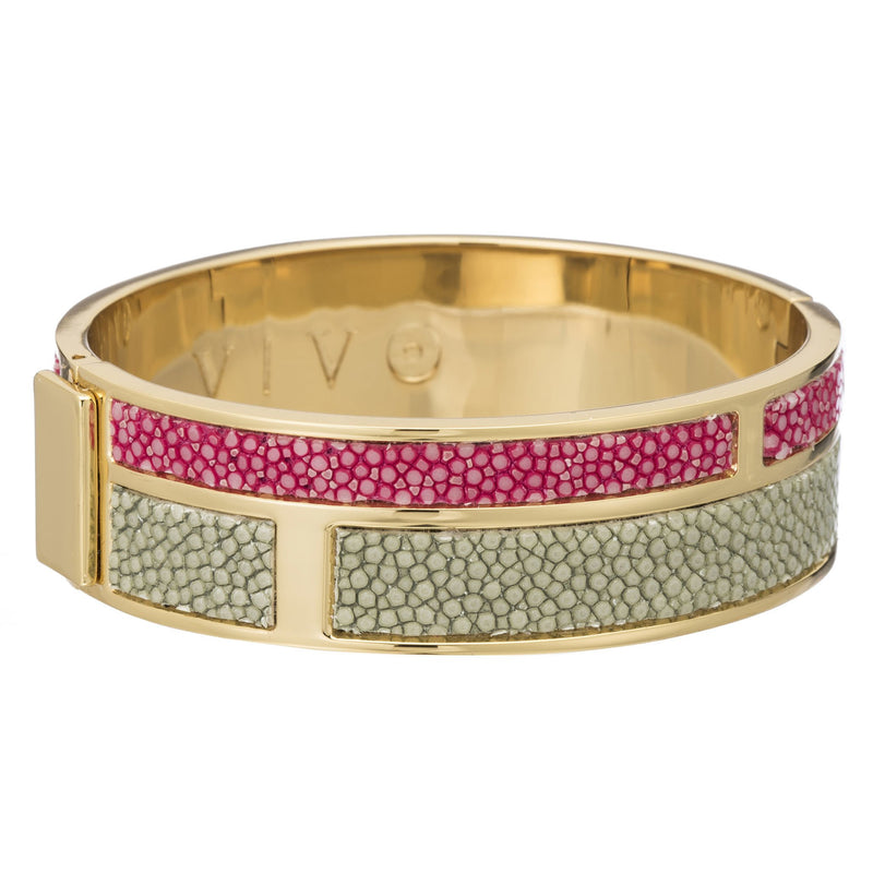 Hinged Bangle With 2 Color Genuine Shagreen Inlay-Celadon, Pink - New York Look