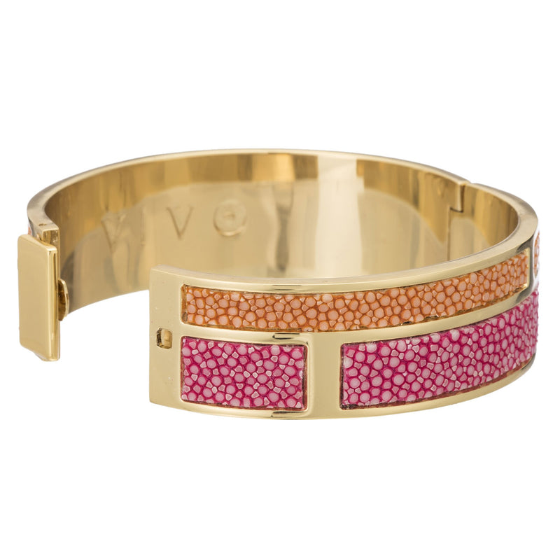 Hinged Bangle With 2 Color Genuine Shagreen Inlay-Pink, Orange - New York Look